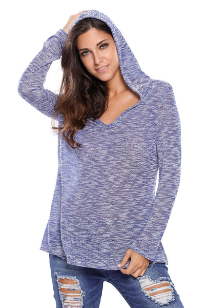 Chicloth Blue Hooded V-Neck Long Sleeve Loose Knitted Top