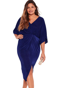 Chicloth Blue Kimono Sleeve Knotted Pleated Front Plus Size Dress