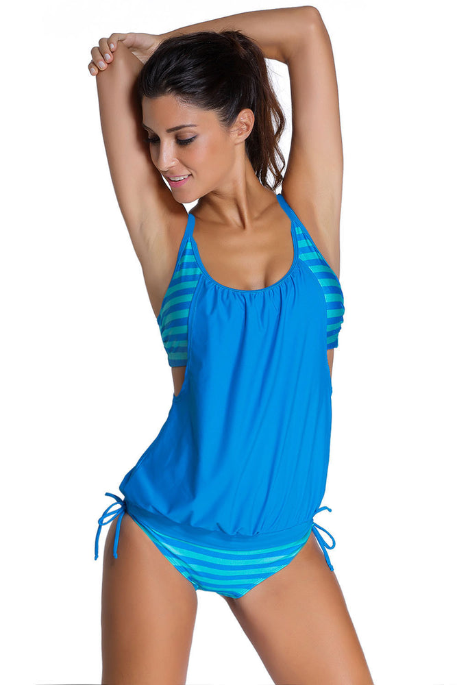 Chicloth Blue Layered-Style Striped Tankini with Triangular Briefs-Tankinis-Chicloth