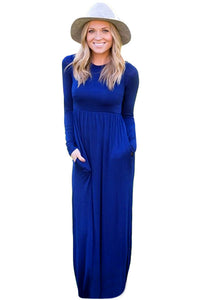 Chicloth Blue Long Sleeve High Waist Maxi Jersey Dress