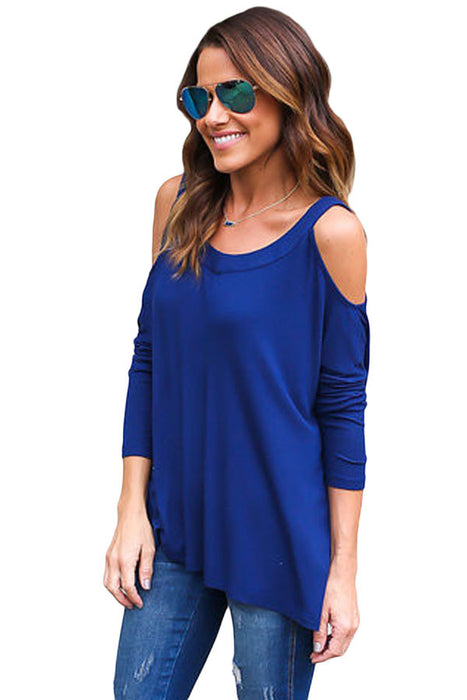 Chicloth Blue Long Sleeve Relaxed Fit Cold Shoulder Top-Blouse-Chicloth