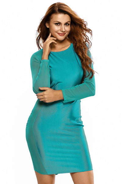 Blue Mesh Stitching Curvaceous Midi Dress