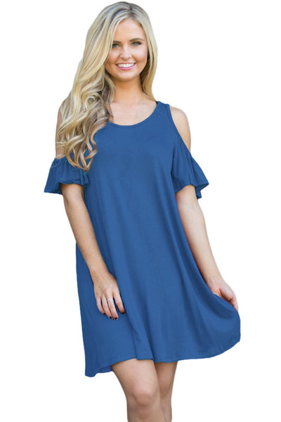 Chicloth Blue Naughty Cute Cold Shoulder Short Dress-Mini Dresses-Chicloth