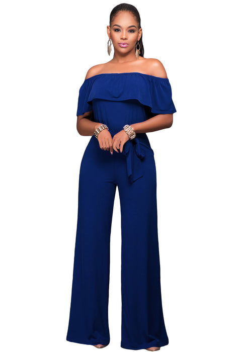 Chicloth Blue Off Shoulder Belted Wide Leg Jumpsuit-Jumpsuits & Rompers-Chicloth