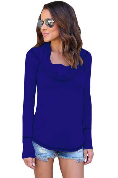 Chicloth Blue Off The Shoulder Long Sleeve Top