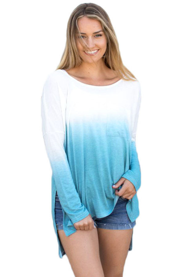 Chicloth Blue Ombre Split Side Long Sleeve Top