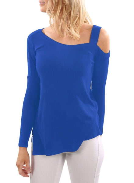 Chicloth Blue One Shoulder Long Sleeve Top with Slit