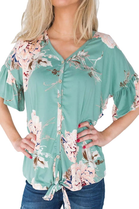 Z| Chicloth Blue Peony Blossom Black Tie Front Blouse-Chicloth