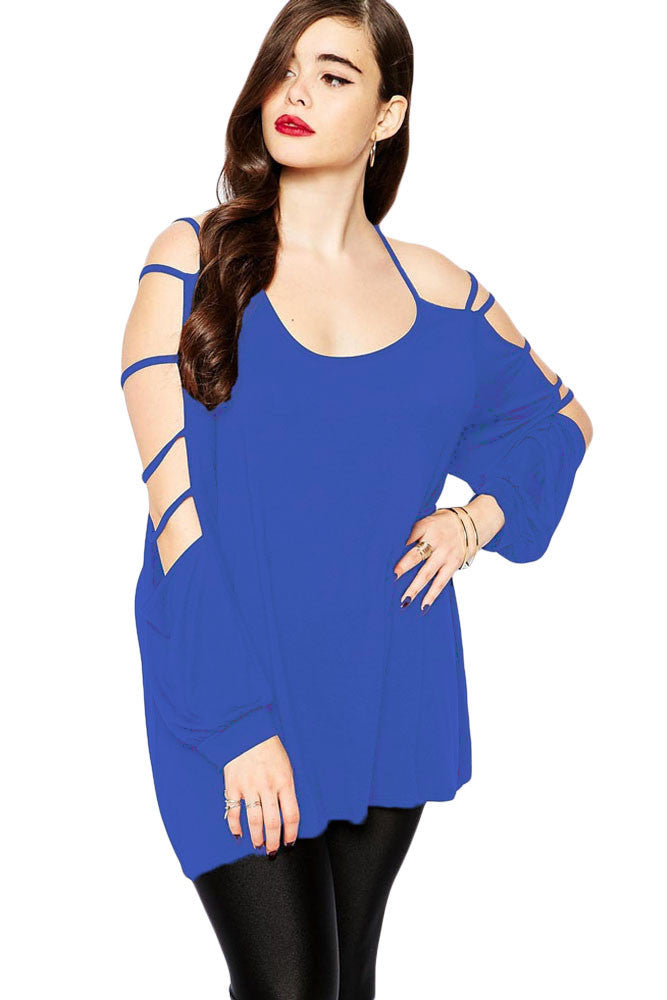 Chicloth Blue Plus Cut out Swing Arm Top