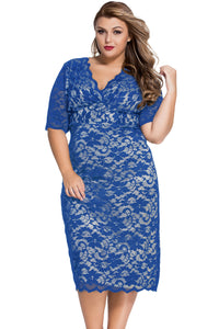 Chicloth Blue Plus Size V-Neck Half Sleeve Lace Midi Dress