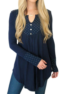 Chicloth Blue Polka Dot Peasant Tunic