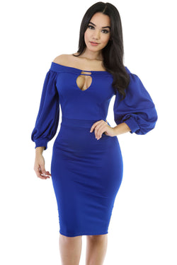 Chicloth Blue Puffs Peep Hole Off Shoulder Midi Bodycon Dress