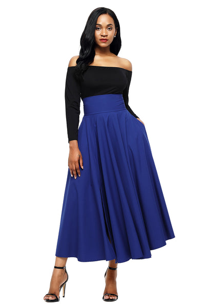 A| Chicloth Blue Retro High Waist Pleated Belted Maxi Skirt-Skirts-Chicloth