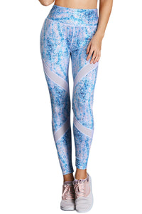 Z| Chicloth Blue Scrawl Print Women High Waist Sport Leggings