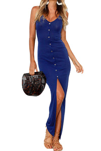 Z| Chicloth Blue Sexy Front Split Bodycon Maxi Dress-Chicloth