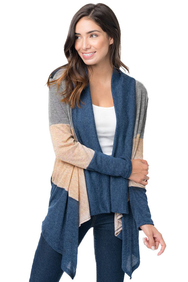 Chicloth Blue Shawl Neck Colorblock Long Sleeve Cardigan