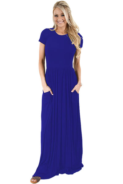 Chicloth Blue Short Sleeve Ruched Waist Maxi Dress