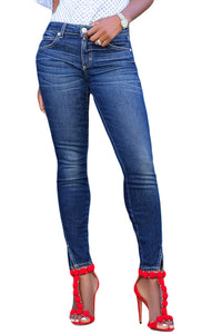 Z| Chicloth Blue Slit Front Skinny Jeans for Women