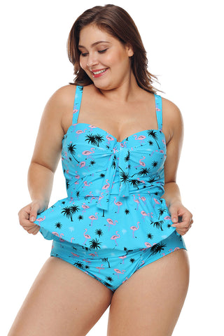 A| Chicloth Blue Summer Beach Print Plus Size Ruffled Tankini With Panty-Plus Size Swimsuits-Chicloth