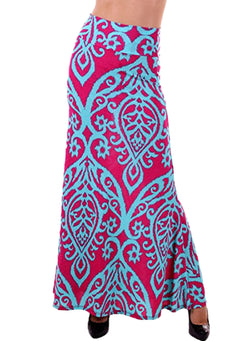 Chicloth Blue Tendril Printed Rosy Maxi Skirt