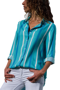 A| Chicloth Blue Tricolor Stripe Long Sleeve Button Down Shirt-Blouses-Chicloth
