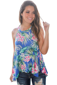 Chicloth Blue Tropical Print Flowy Tank Top