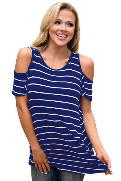 Chicloth Blue White Stripe Cold Shoulder Top