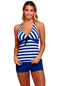 Chicloth Blue White Striped 2pcs Halter Tankini Swimsuit