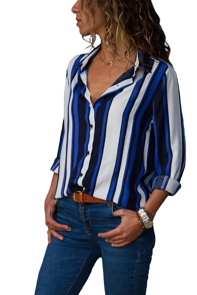 A| Chicloth Blue White Striped Long Sleeve Button Down Shirt-Blouses-Chicloth