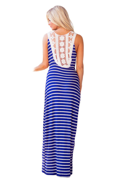 Chicloth Blue White Stripes Print Lace Back Maxi Boho Dress