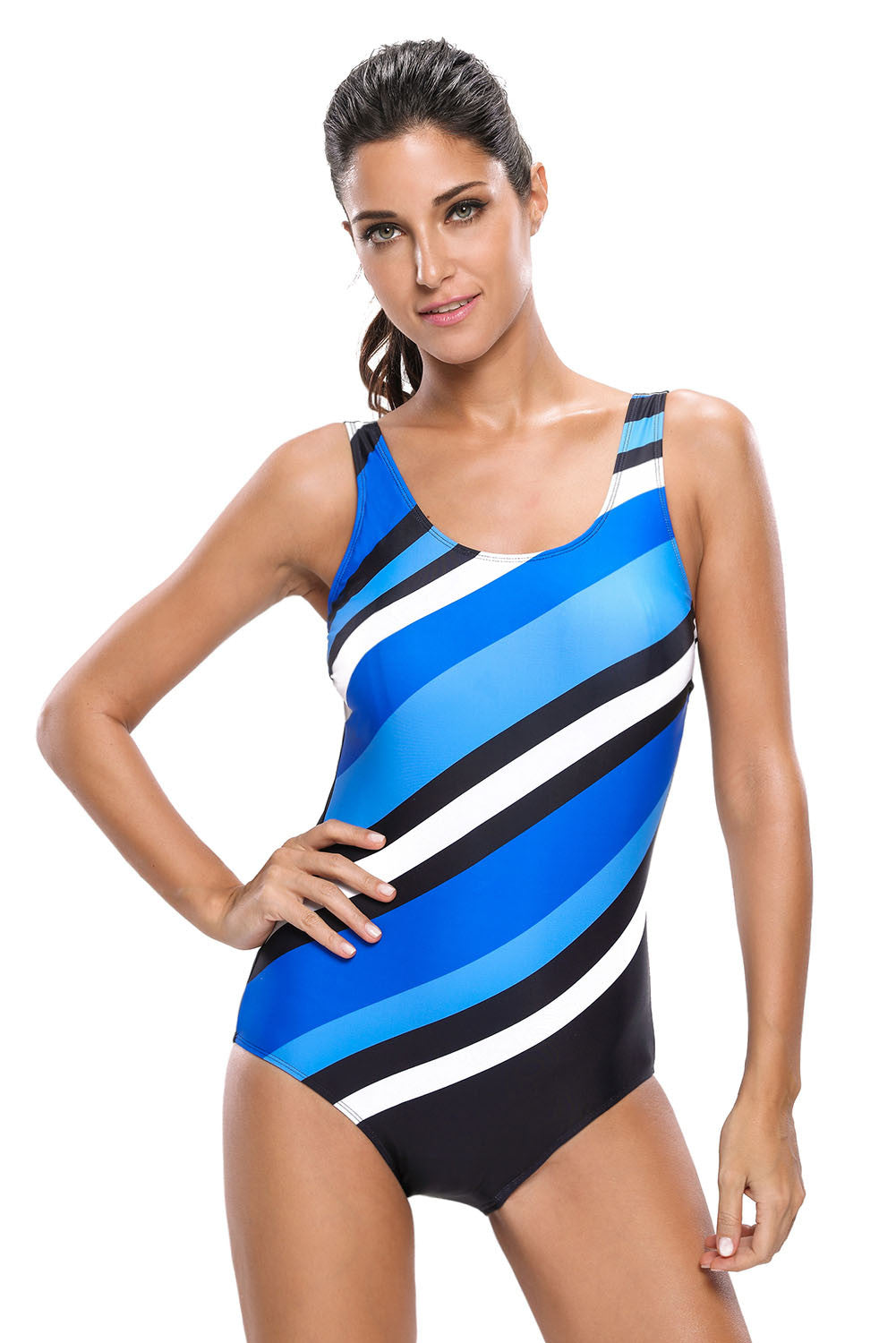 Chicloth Bluish Oblique Stripes One Piece Swimsuit