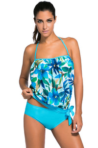 A| Chicloth Bluish Print 2Pcs Bandeau Tankini Swimsuit-Tankinis-Chicloth