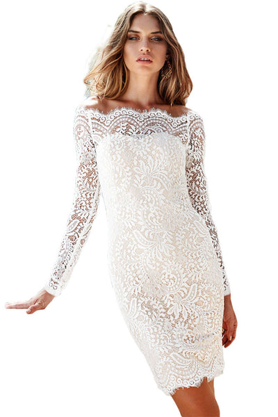 Chicloth Bodycon Off-shoulder Long Sleeve Lace Dress