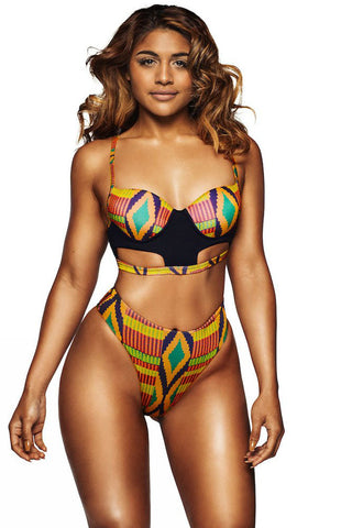 Chicloth Bright African Print Cut out High Waist Swimsuit