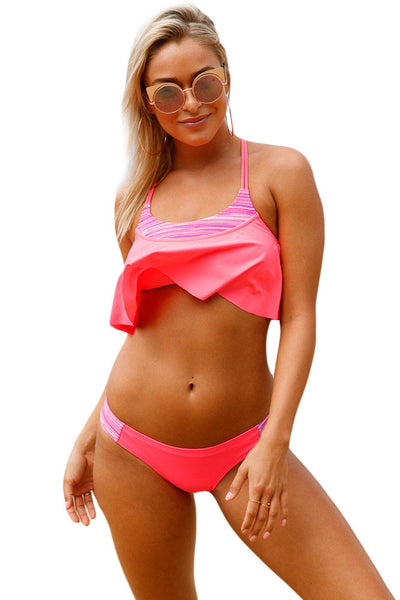 Chicloth Bright Coral and Stripes Tankini Swimsuit
