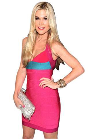 Z| Chicloth Bright Pink Color Block Mini Bandage Dress
