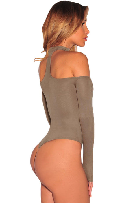 Chicloth Brown Choker Off Shoulder Bodysuit-bodysuit-Chicloth