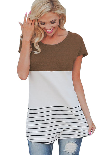 Chicloth Brown Color Block Striped Long Top-Women's Clothes||Blouses & Tops-Chicloth