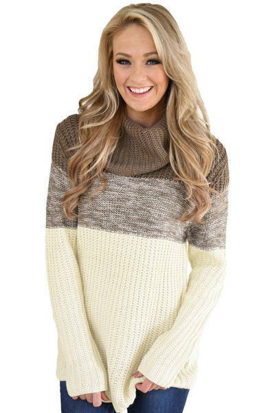 A| Chicloth Brown Cowl Neck Color Blocked Sweater-Sweaters-Chicloth