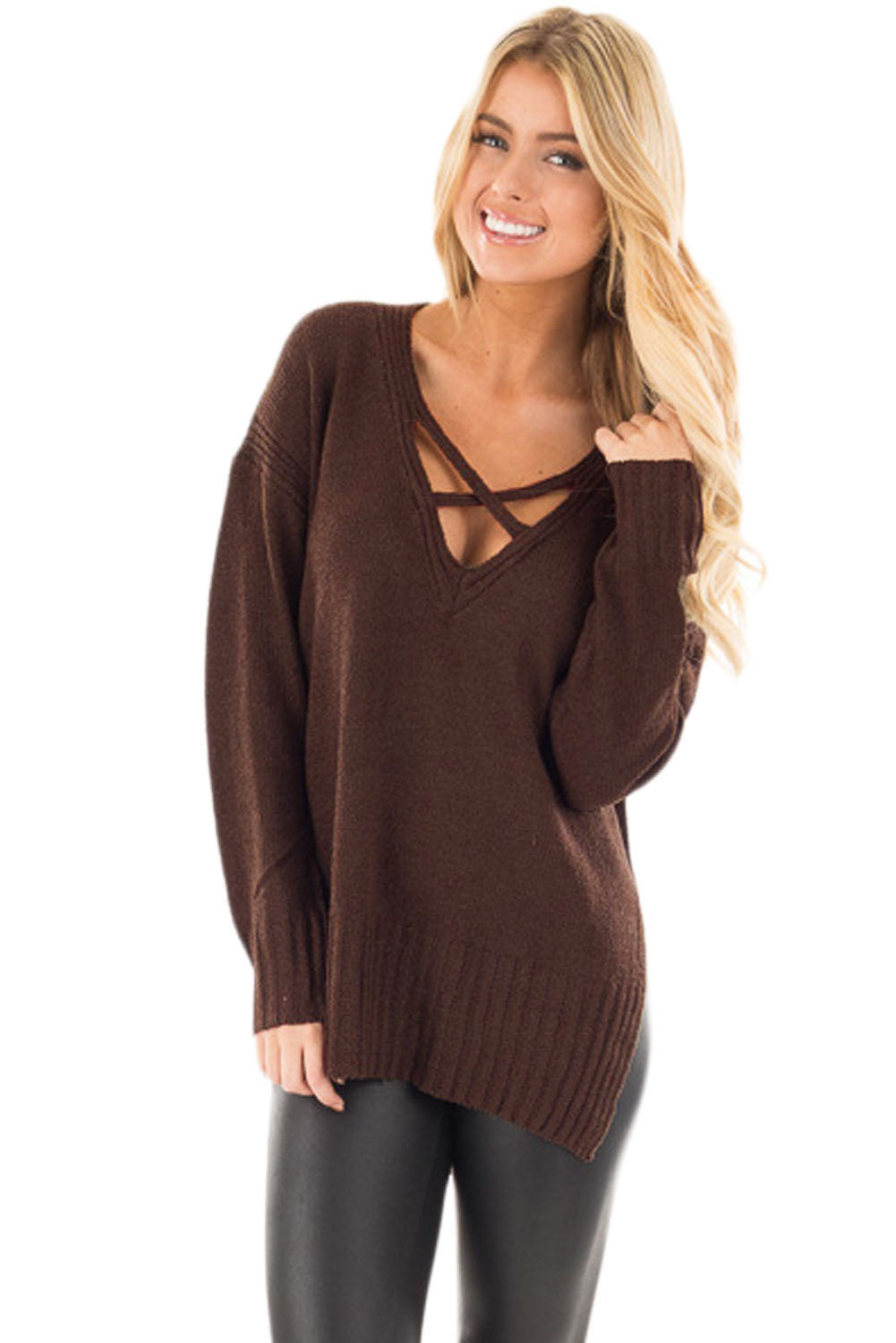 Chicloth Brown Deep V Neck Crisscross Knit Sweater - M / Brown