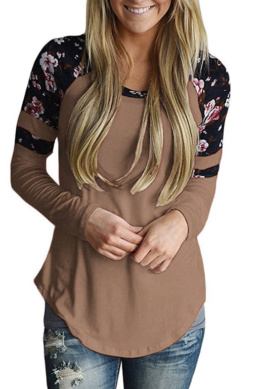 A| Chicloth Brown Floral Varsity Stripe Long Sleeve Top-Blouses-Chicloth