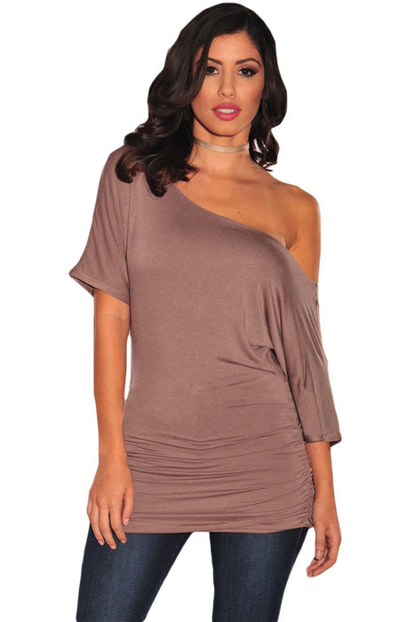 Chicloth Brown Half Sleeves Ruched Tunic Top-Blouse-Chicloth
