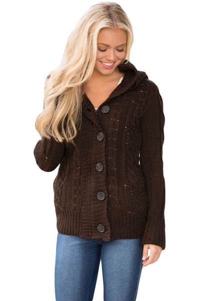 A| Chicloth Brown Long Sleeve Button-Up Hooded Cardigans-Sweaters-Chicloth