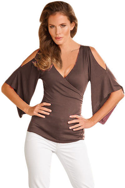 Chicloth Brown V Neck Slit Sleeve Wrap Top