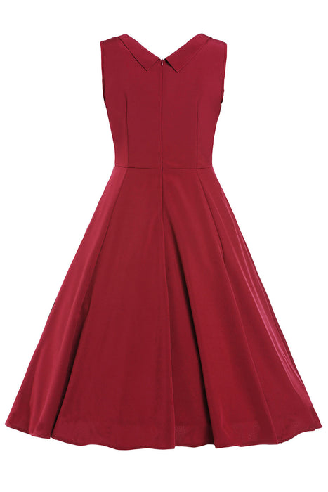 Chicloth Burgandy Sweetheart Neck Retro Collared Skater Dress-Vintage Dresses-Chicloth