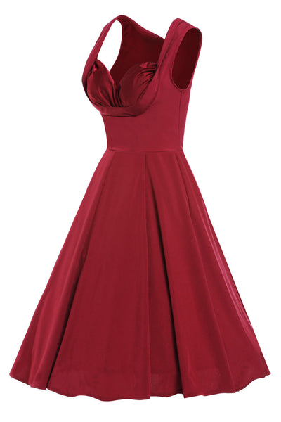 Chicloth Burgandy Sweetheart Neck Retro Collared Skater Dress