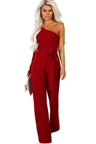 Z| Chicloth Burgundy Asymmetric One Shoulder Wide Leg Solid Jumpsuit-Jumpsuits-Chicloth