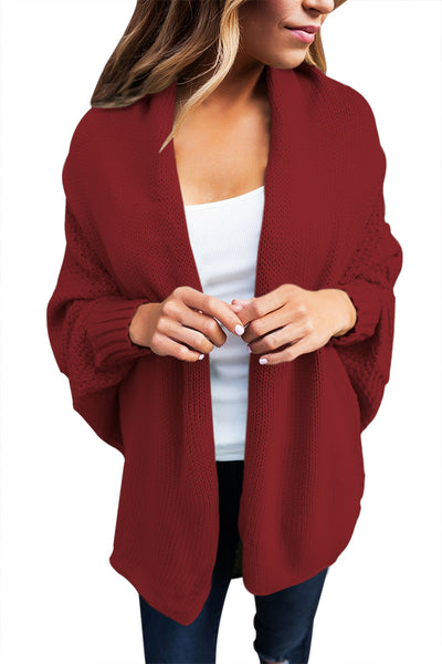 A| Chicloth Burgundy Chunky Knit Open Front Dolman Cardigan-Sweaters-Chicloth