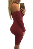Chicloth Burgundy Cold Shoulder Long Sleeve Plunge Halter Dress
