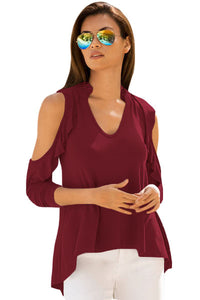 Chicloth Burgundy Cold Shoulder Ruffle Top